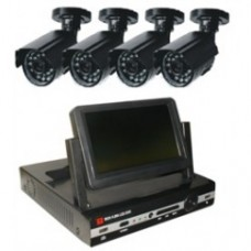 KIT Camera  EN-1704KDE 4-CH DVR with 4pcs IR Color CCD Camera